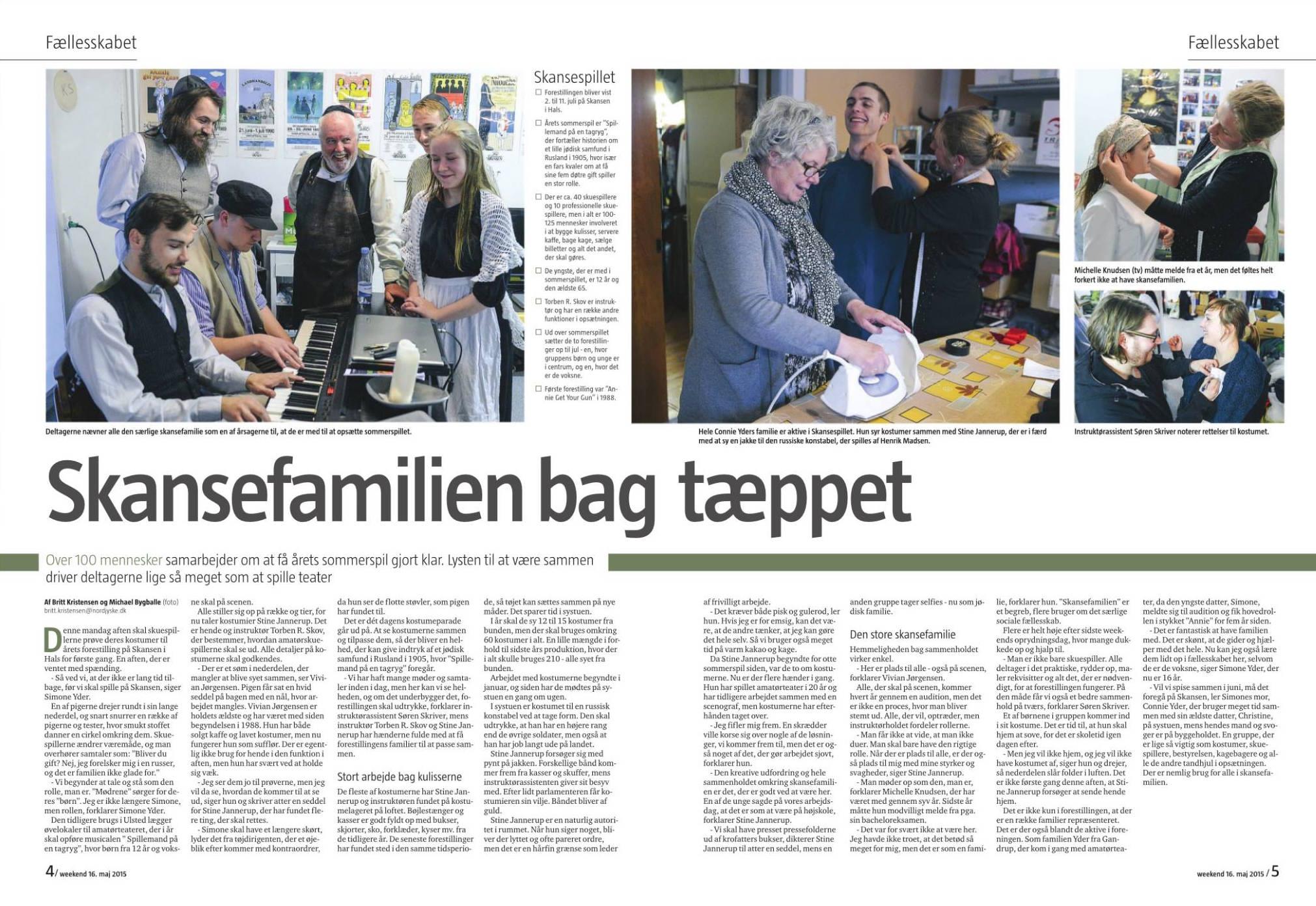 Nordjyske Stiftstidende 16. maj 2015, Skansespillet